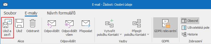 Ulož a zavři e-mail