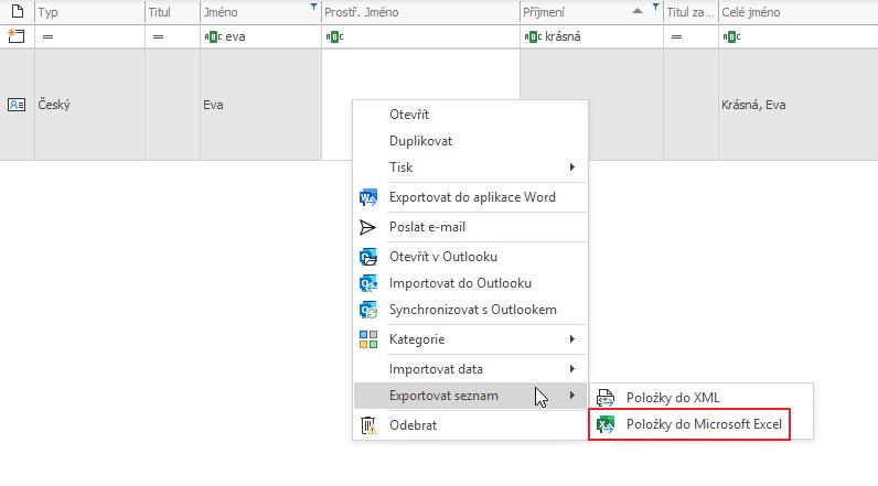 Exportovat do Excelu