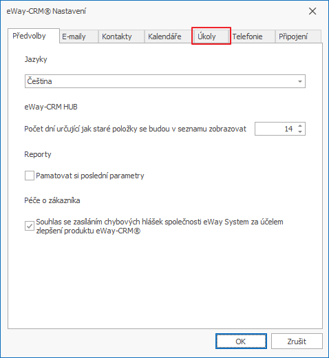 Záložka Úkoly v Nastavení eWay-CRM