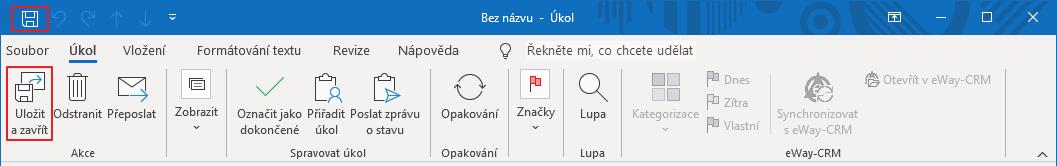 Uložit úkol v Microsoft Outlooku