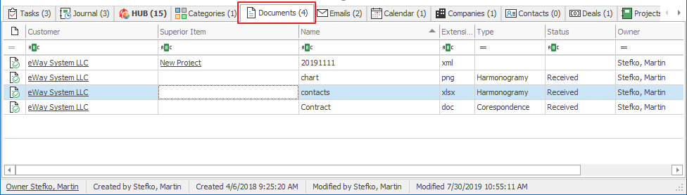 Documents Tab on Contact