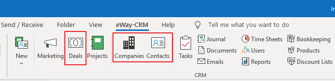 Deals, Companies and Contacts Icons