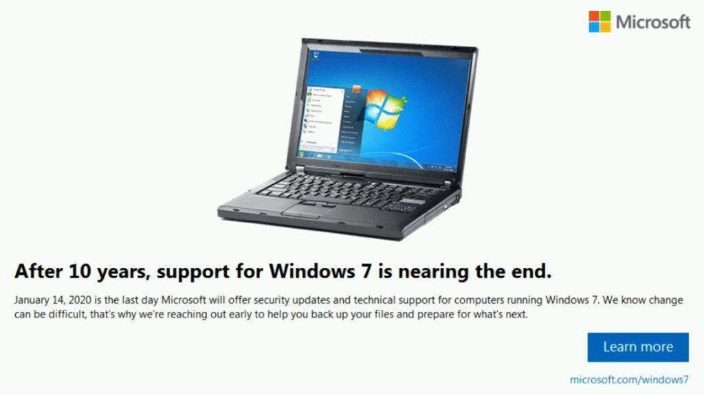 Konec podpory Windows 7.