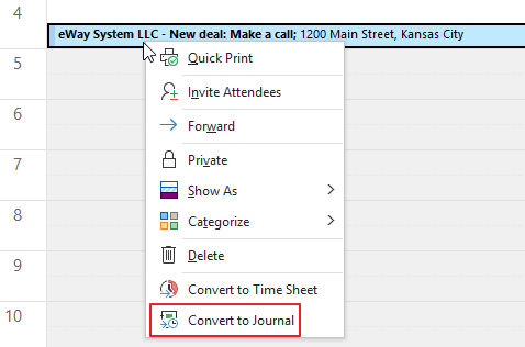 Convert Event to Journal