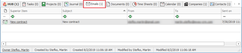 Emails Tab