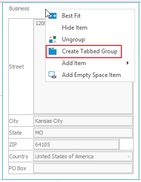Create Tabbed Group