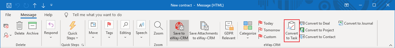 Convert Email to Task