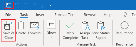 Save Task in Outlook