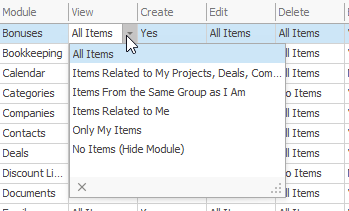 Module Permissions for View