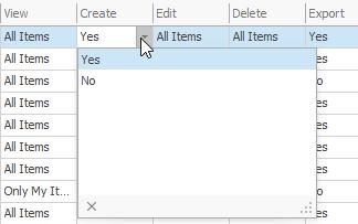 Module Permissions for Create