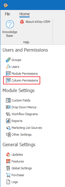 Column Permissions in Administration Settings