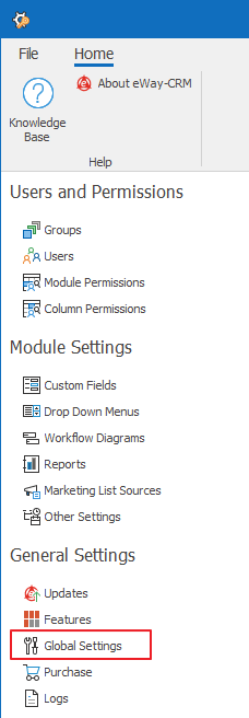 Global Settings in Administration Settings