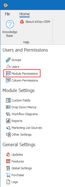 Module Permissions in Administration Settings