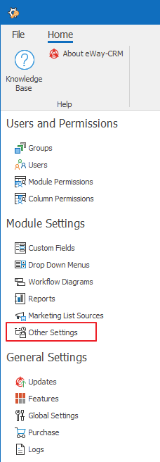 Other Settings in Administration Settings
