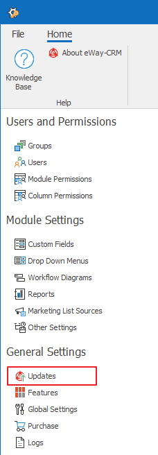 Updates in Administration Settings