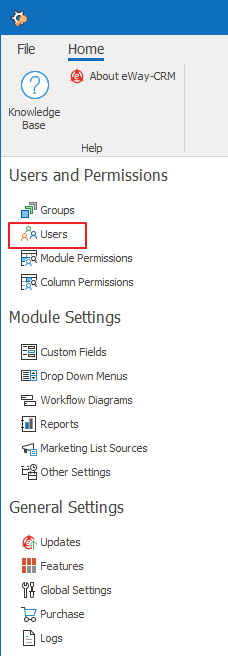 Users in Administration Settings