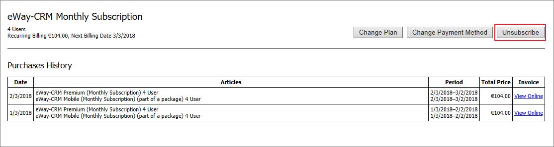 Unsubscribe eWay-CRM