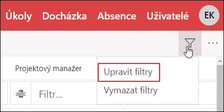 Upravit filtry