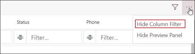 Hide Column Filter