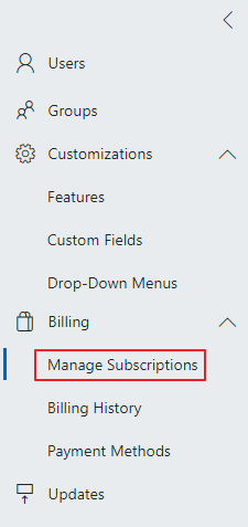 Manage Subscriptions in Administration Center
