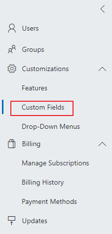 Custom Fields in Administration Settings
