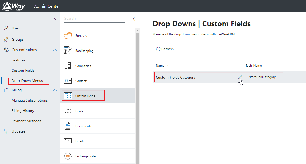 Custom Fields Categories