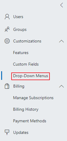 Drop-Down Menus in Administration Center