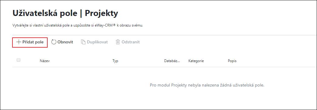 Nová položka v administrační aplikaci