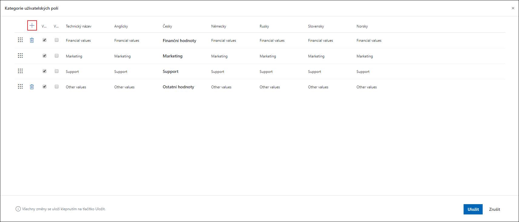 Přidat kategorii uživatelského pole