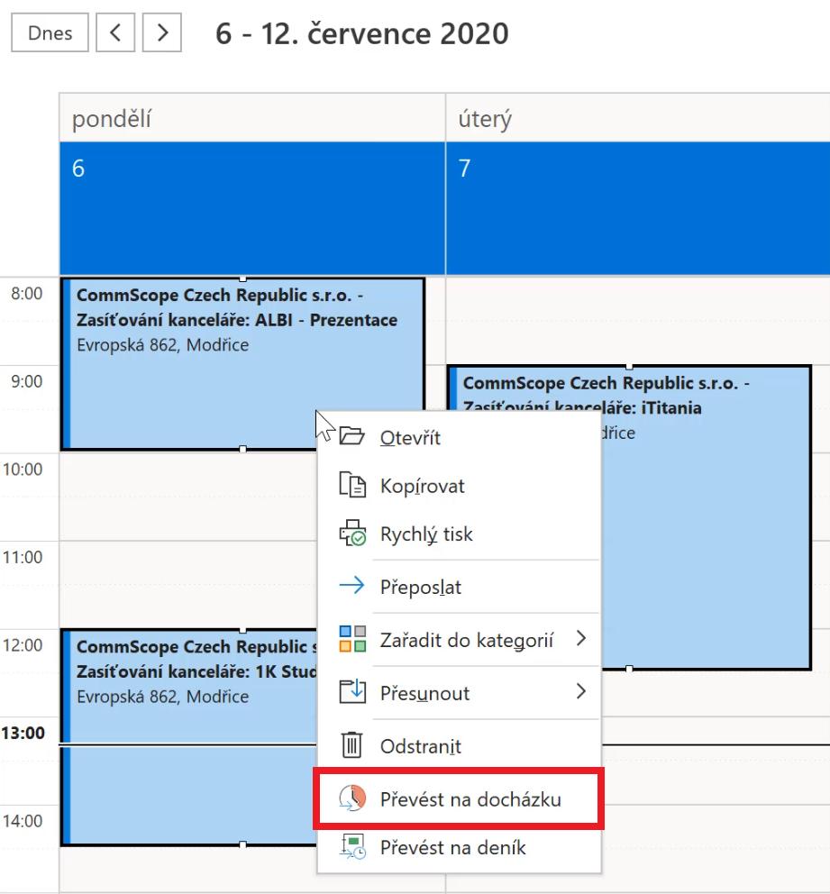 převod události z kalendáře na docházku